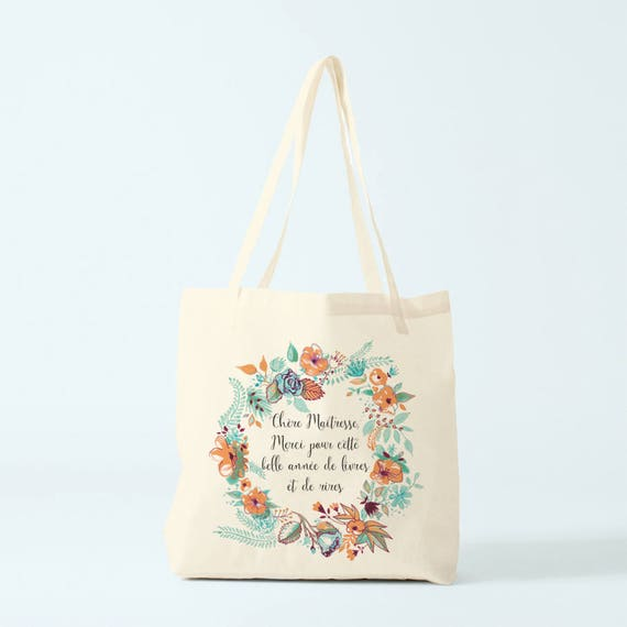 Tote bag, teacher, thank you, french quote for teacher, gift teacher.