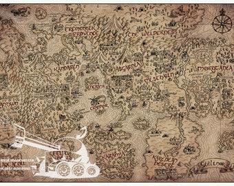 "Vintage RuneScape World Map 11"" x 17"" Print"
