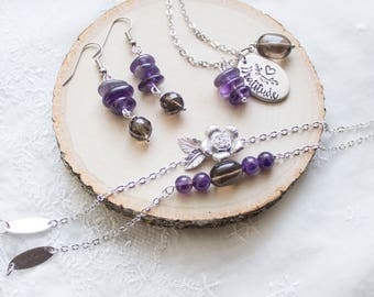 Anxiety Jewelry Set for Stress Relief - Amethyst and Smoky Quartz Gemstone Jewelry for Anxiety and Stress - Smell the Rose Jewelry Set