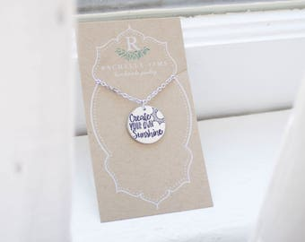 Create Your Own Sunshine Necklace - Hello Sunshine Jewelry - You are my Sunshine - Sun Necklace - Sunshine State - Gift for Christmas Gift