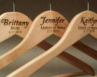 3 Custom Engraved Wedding Hangers For Personalized Weddings -- Great For Bridesmaids and Groomsmen! Dress Suit Tux Tuxedo