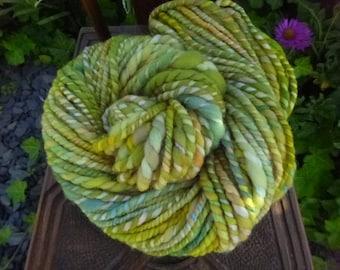 Handspun Yarn, Handspun art yarn, Chunky Yarn, Hand Painted Yarn, Thick & Thin Yarn: Summer Greens