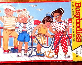 Butterick Busybodies 3790 - Toddler and Children's Jacket, Top, Tank Top, Skirt, Shorts and Pants Pattern - Sizes 4, 5, and 6