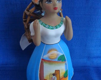 Vintage Handpainted Ceramic Mexican Doll Signed, Mexican Pottery, Mexican Girl Statue,Mexican Figurine,Collectable Doll,others Day Gift