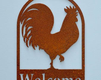 Rooster Welcome Sign | Primitive Welcome Sign | Farmhouse Welcome Sign | Farmhouse Decor | Barn Sign | Welcome Sign for Front Door |  WE609