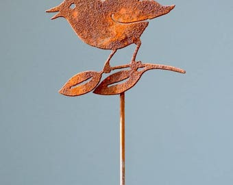Wren on Leaves Stake | Wild Bird Art | Metal Garden Stake | Wren Gifts | Metal Garden Art | Indoor Garden Gift | Bird Lover Gift | Rust P426