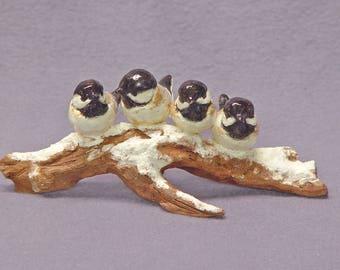 Handmade Ceramic Birds on a Branch,  Snow, Bird sculpture, Bird Figurine, Bird Family, Ceramic Art
