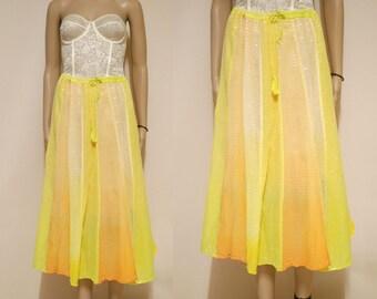 Vintage 90s Pastel Yellow Orange Skirt Boho Hippie Gypsy Metallic Thread Bohemian Vtg 1990s Size M-L