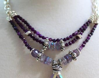 necklace, amethyst necklace, purple necklace, boho chic necklace, bohemian necklace, artisan necklace, spring trends, southwestern necklace