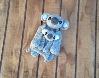 Crochet Silver and Gray Koala and Mini Koala Ragdoll Set -- READY TO SHIP