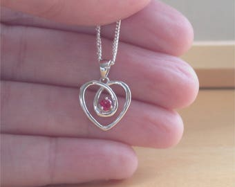"925 Ruby (Lab Created) Heart Pendant & 18"" Silver Chain/Ruby Jewelry/Ruby Jewellery/Ruby Jewelery/Silver Ruby Necklace/July Birthstone"