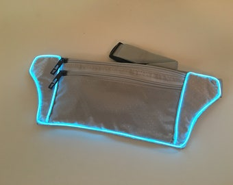 Light Up Silver Fanny Pack El wire