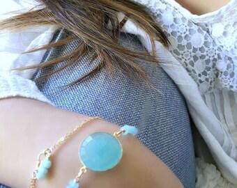 aqua gemstone bracelet aqua bracelet aqua chalcedony bracelet 14k gold filled gemstone jewelry personalized initial boho chic bracelet gift