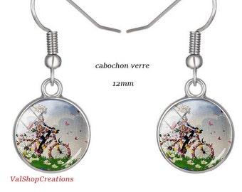 Earrings glass cabochon girl on bike