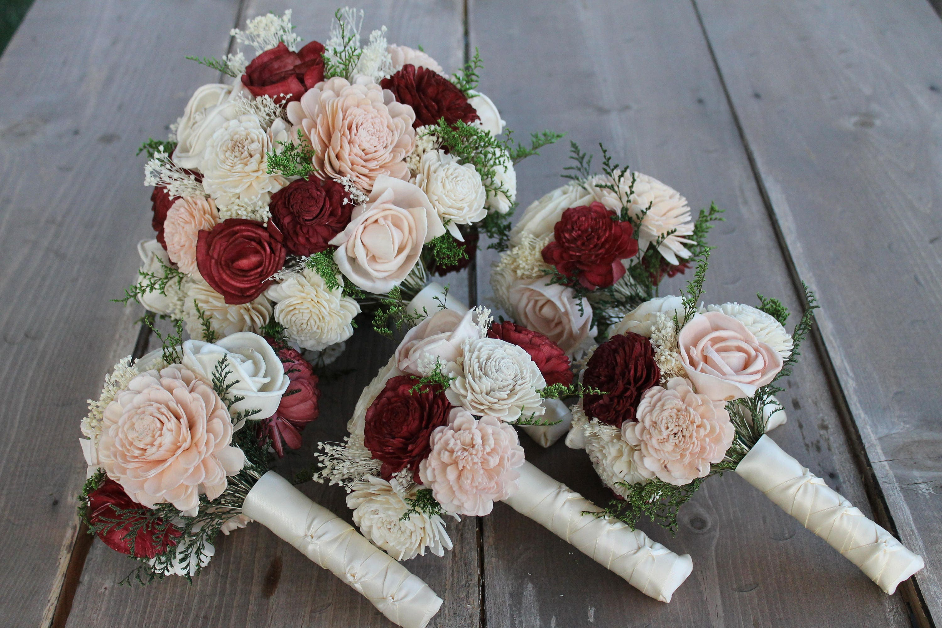 Burgundy sola flower bouquets burgundy blush pink cream for Fall wedding bouquets for sale