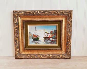 Vintage Mid Century Oil Painting Oil on Canvas Nautical Painting Impasto Painting Seascape Painting Boat Painting Nautical Art Impressionist