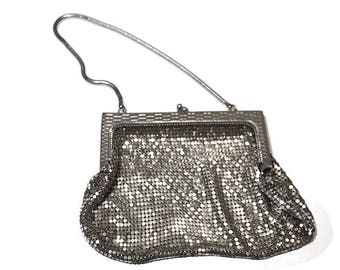 Whiting and Davis Evening Bag,Vintage Mesh Purse,Silver Metal Mesh Clutch with Chain Strap,Formal Evening Bag,Wedding Purse,Made in U.S.A