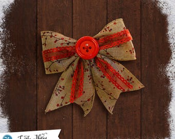 Large Rustic Red Button Hair Bow | 3in French Barrette | Hand Crafted