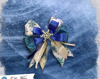 Glittery Winter Snowflake Hair Bow | 3in French Barrette | Hand Crafted