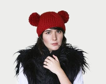 Pom Pom Bear Ear Beanie -  Mouse Hat -Knit Hat with Two Pom Poms - Chunky Ear Hat -  Chunky Beanie in Dark Red  | The Ursa Major Hat |