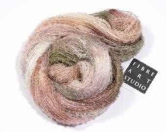 Bebe>> Kid Mohair Boucle Loop Yarn | Beige Brown Green Variegated Yarn | Knitting, Crochet, Weaving Yarn | Land of Milk and Honey