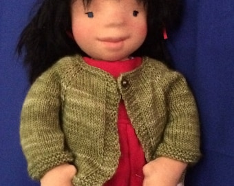 Elody a stubborn but gentle soul with her forever monkey friend. Waldorf doll. Stuffed doll