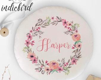 Personalised Floral wreath cushion, kids round cushion, nursery cushion, girls room decor, baby gift, keepsake.