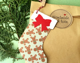 Gingerbread Man Christmas stocking gift tags. Xmas gifts, Gift wrapping, Traditional Christmas gifting, Brown, green stockings with red bows