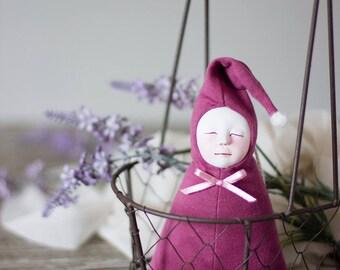 Lavender filled art doll, crib decor, it's a girl gift, fragrant lavender sachet, baby shower favors, lavender gifts, baby girl room decor
