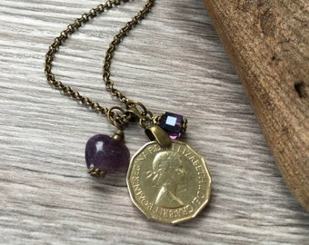 60th or 61st birthday gift, 1957 or 1958 British coin necklace, purple amethyst long pendant, English present for her, woman, mum, aunt,