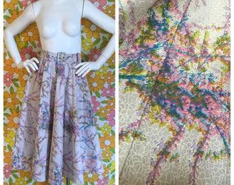 50s 60s Vintage Ilza Hahlo Floral Circle Skirt Small XS