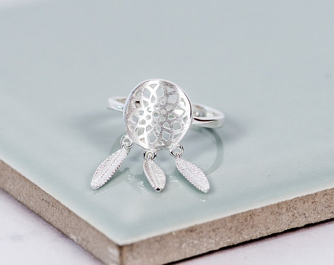 Featured listing image: Sterling Silver Dream Catcher Adjustable Ring