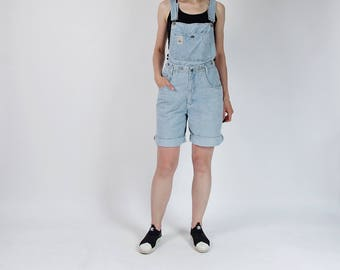 90s Creem Paris high waisted denim two in one shorts overalls / size L