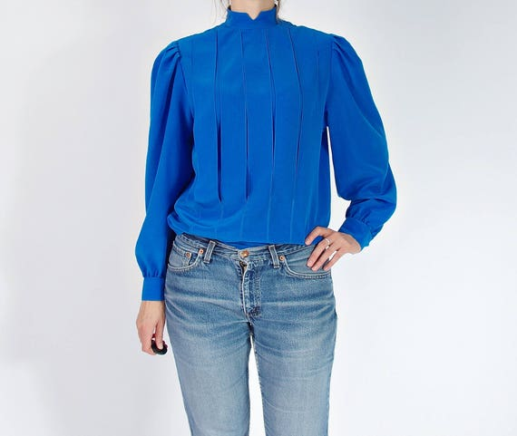 70s Allumette Paris indigo blue vertical panels blouse made in France / size S-M
