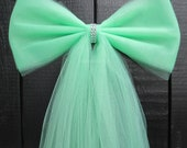 Dark Mint Green Tulle Bling Pew Bow | Silver or Gold Bling | Wedding Ceremony Party Decorations | Church Aisle Chair | Bridal Baby Shower