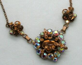 Outstanding Vintage Aurora Borealis Pendant Necklace Brass Setting Czechoslovakia