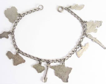 Vintage Sterling Hawaiian Islands Charm Bracelet