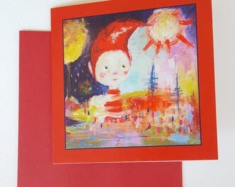 """Christmas greeting card with envelope, size 12x12 cm / 4.7x4.7"""""""