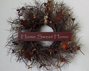 "Primitive Wreath, Angel Vine, Home Sweet Home, Primitive Sign, Stars, Pip Berries, Homespun, Handmade, 8"" Round Wreath, Made in the USA"