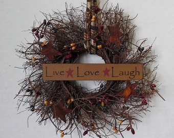 "Primitive Wreath, Angel Vine, Live Laugh Love, Primitive Sign, Stars, Pips, Homespun, Handmade, 8"" Round Wreath, Made in the USA"