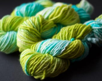 Hand dyed bulky yarn - aqua lime - bulky yarn - single ply bulky - quick knitting yarn - squishy soft yarn - super wash merino bulky yarn