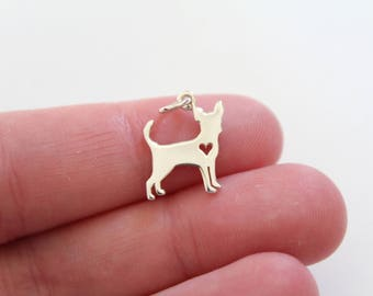Sterling Silver Chihuahua Charm, Chihuahua Pendant, Silver Chihuahua Charm, Silver Chihuahua Pendant, Chihuahua Dog Charm, Dog Charm, Dog