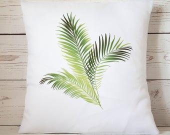 "Tropical Palm  leaves - 16"" Cushion Pillow Cover Retro Shabby Vintage Chic - UK Handmade"