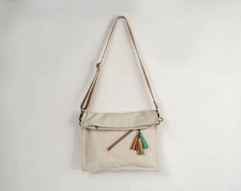 Crossbody bag, leather crossbody purse, cross body foldover bag, ivory purse