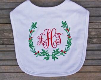 Embroidered Christmas Bib, Monogrammed Bib, Christmas Bib, Baby's First Christmas