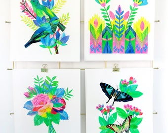 Giclée butterflies and botanical illustration