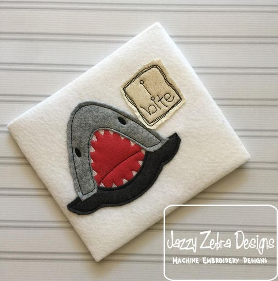 I bite shark shabby chic applique embroidery design - shark appliqué design - beach appliqué design - shabby chic appliqué design - baby