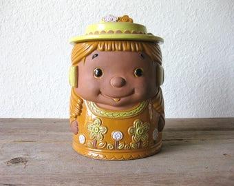 1970's Glazed Terra Cotta Cookie Jar ~ Japan ~ Kitchen Storage ~ Cookie Storage ~ Cookie Canister ~ Harvest Gold