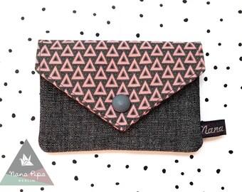 Card Case / Purse / Bolso / Billetera / 2 Pockets : Triangles Salmonpink Gray