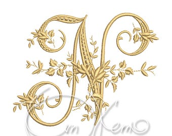 MACHINE EMBROIDERY DESIGN - Victorian Letter N embroidery, Victorian alphabet embroidery, Antique alphabet embroidery, Monogram embroidery